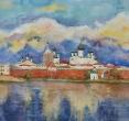 Карапузкина Е. «Панорама Соловков». 2011, акв., бум., 53х100